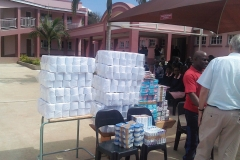 Toiletry donations including toilet rolls, toothpaste, cream and hand towels
