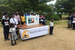 Group photo with schoolchildren and new equipment