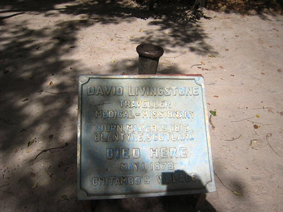 A plaque dedicated to David Livingstone