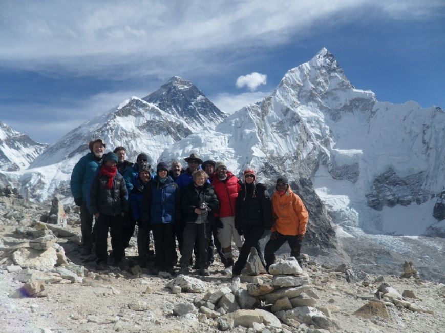Our intrepid group with Everest (peak on the left) in the background