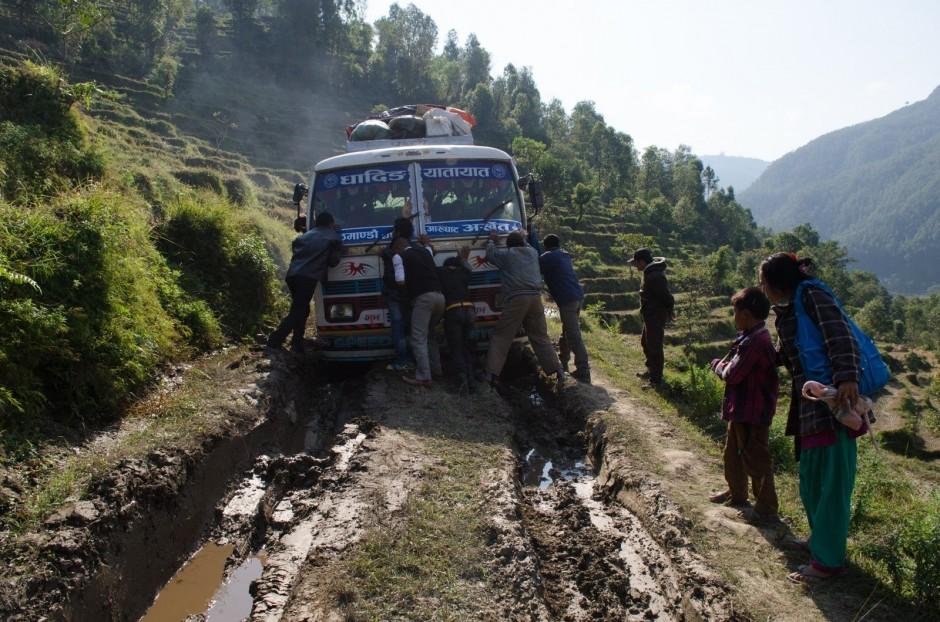 Van stuck in mud