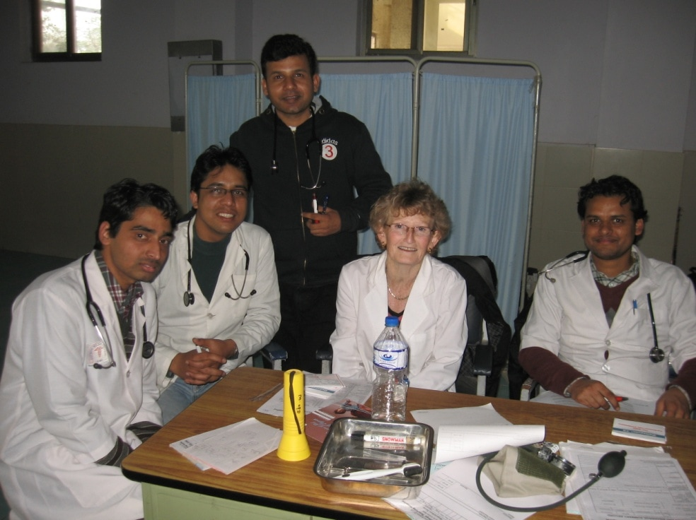 The author alongside other doctors